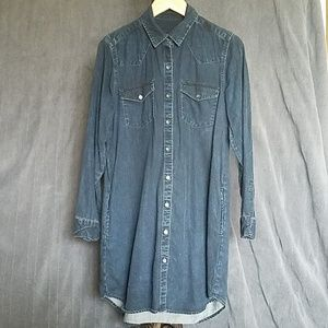 GUC GAP Dark Denim Shirt Dress With Pockets Size L